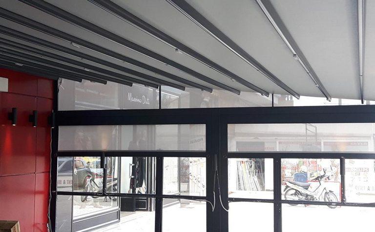 Τοποθέτηση περγκοτέντας με σύστημα ανεμοφρακτών στα καταστήματα KFC και PIZZA HUT στην Γλυφάδα | Tentagon